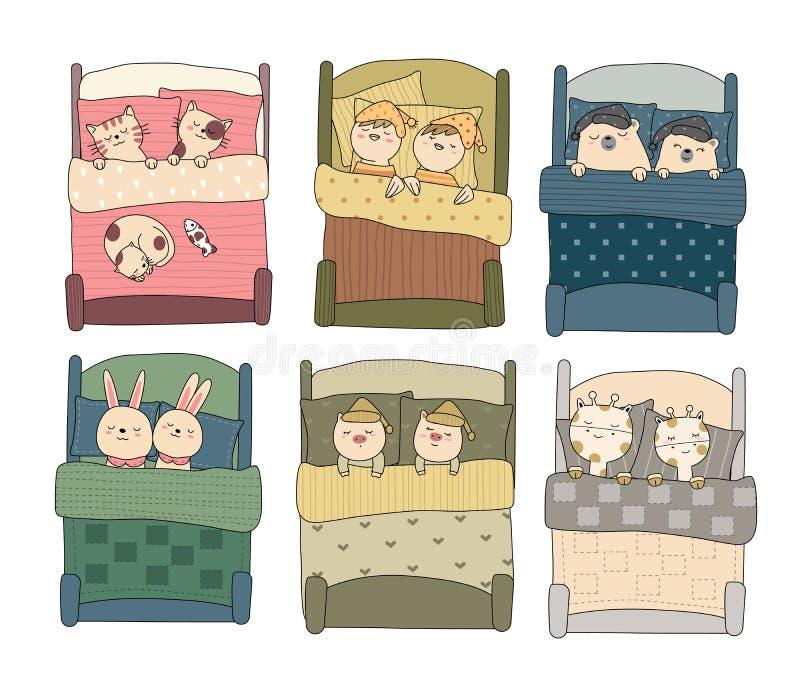 Animal lindo del bebé con estilo exhausto de la mano de la cama, para imprimir, tarjeta, camiseta, bandera, producto Vector ilustración del vector