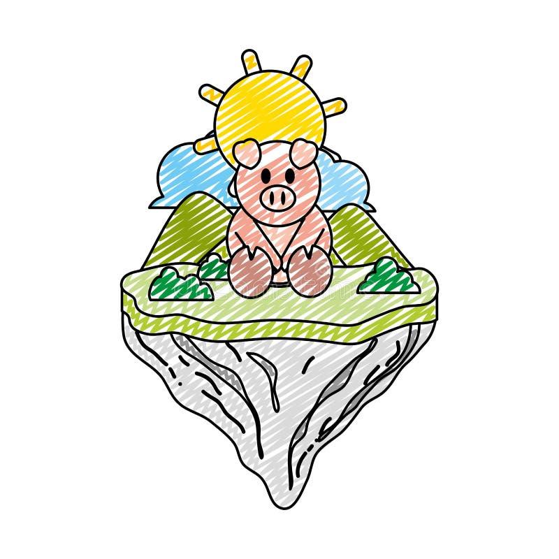 Animal lindo del cerdo del garabato en la isla del flotador libre illustration