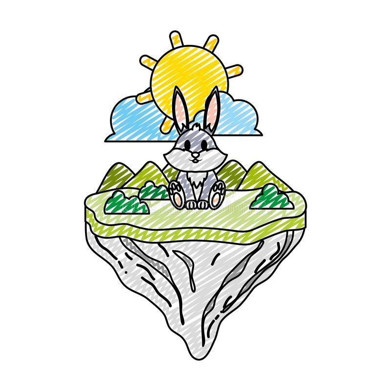 Animal lindo del conejo del garabato en la isla del flotador libre illustration