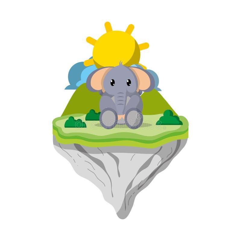 Animal lindo del elefante en la isla del flotador stock de ilustración