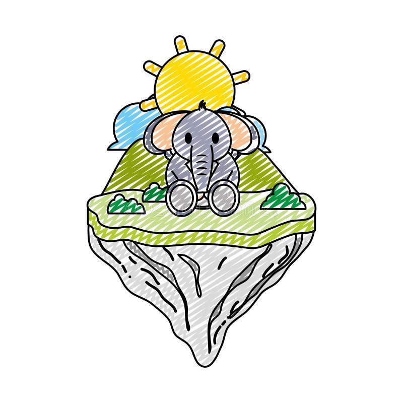Animal lindo del elefante del garabato en la isla del flotador stock de ilustración