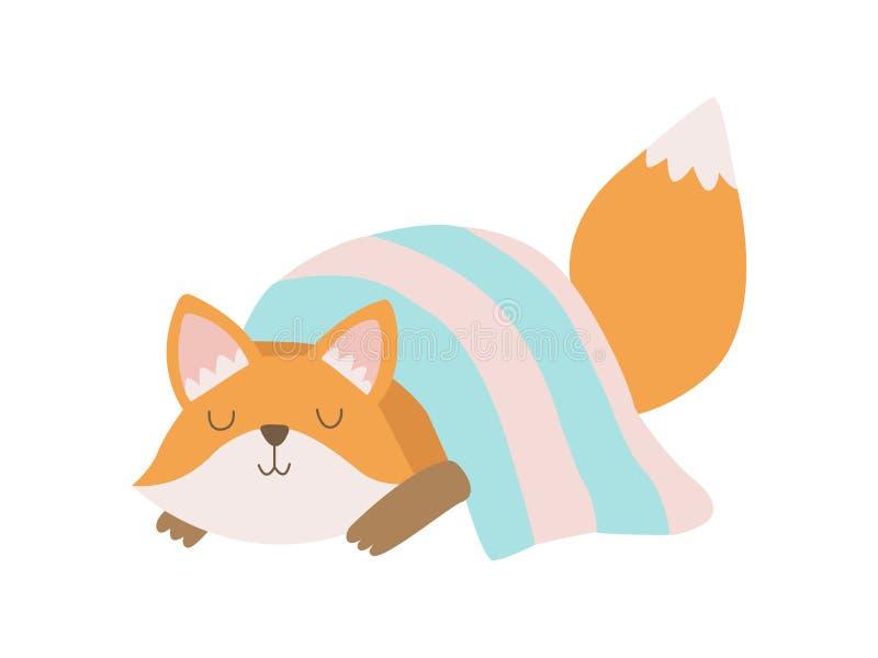 Animal lindo del Fox Cub que duerme bajo ejemplo combinado del vector libre illustration