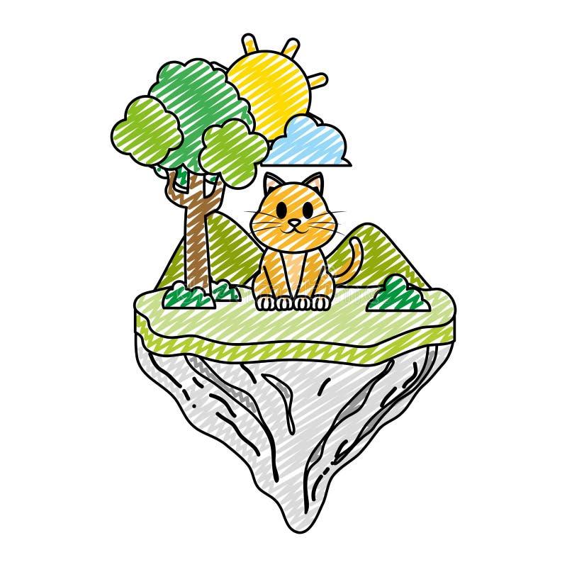 Animal lindo del gato del garabato en la isla del flotador stock de ilustración