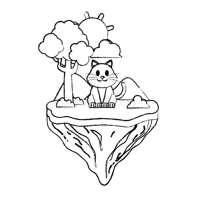 Animal lindo del gato del Grunge en la isla del flotador stock de ilustración
