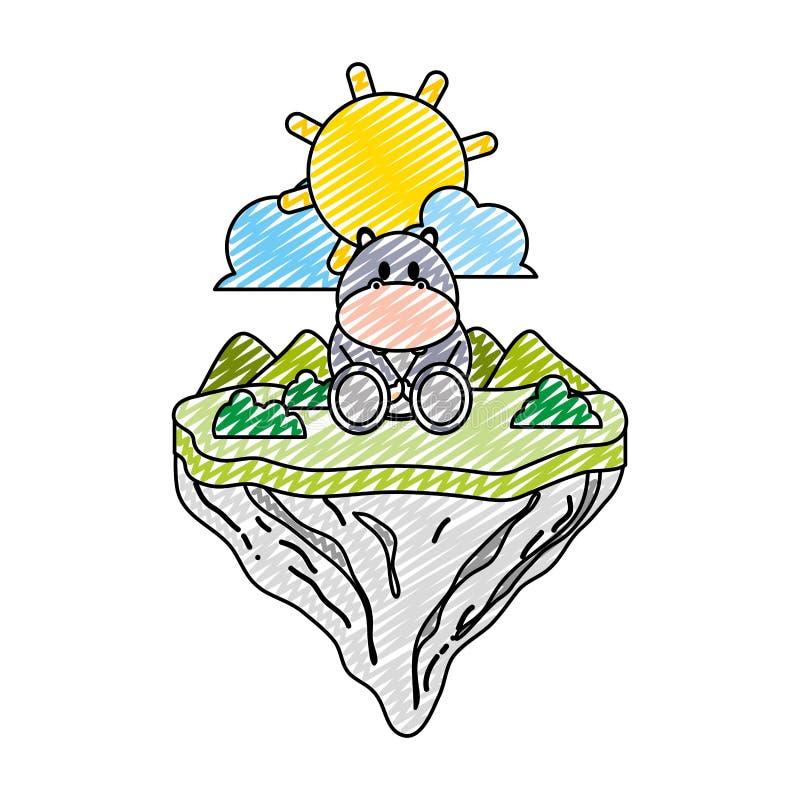 Animal lindo del hipopótamo del garabato en la isla del flotador libre illustration