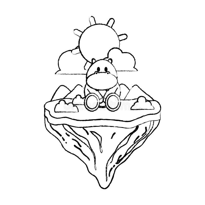 Animal lindo del hipopótamo del Grunge en la isla del flotador libre illustration