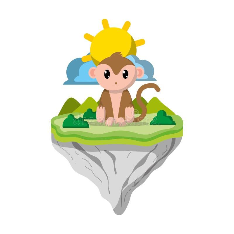 Animal lindo del mono en la isla del flotador libre illustration