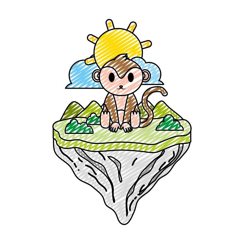 Animal lindo del mono del garabato en la isla del flotador stock de ilustración
