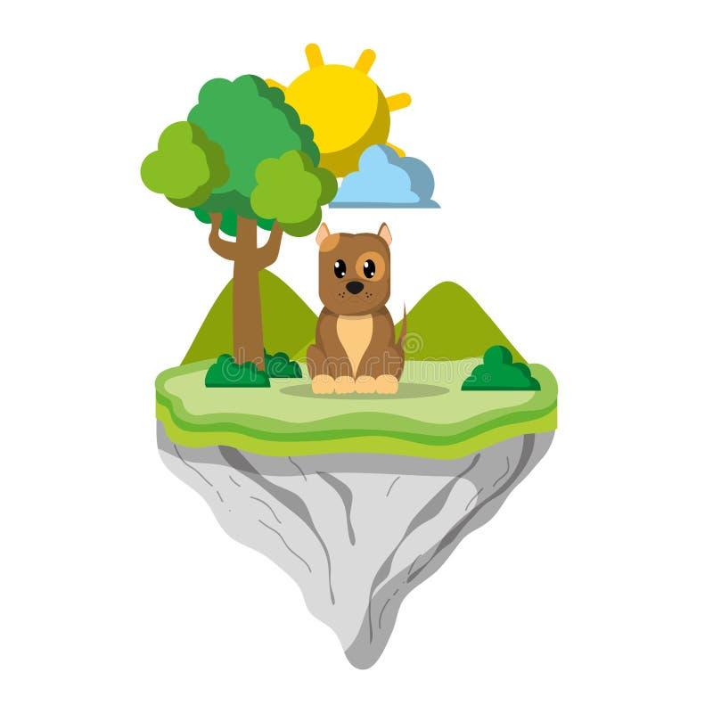 Animal lindo del perro en la isla del flotador ilustración del vector