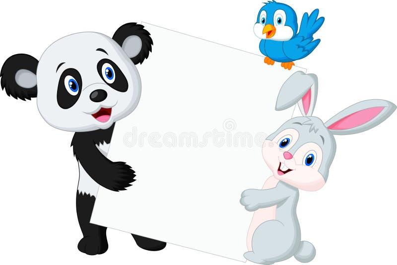 Animal lindo que lleva a cabo la muestra en blanco stock de ilustración