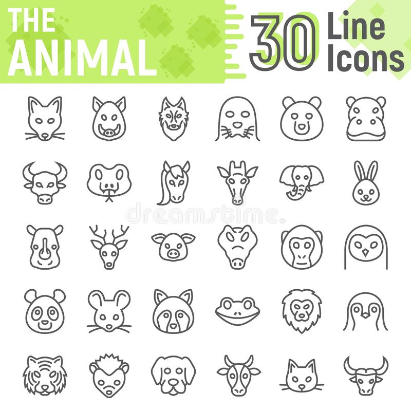 Animal line icon set, beast symbols collection. Vector sketches, logo illustrations, farm signs linear pictograms package isolated on white background, eps 10 stock illustration