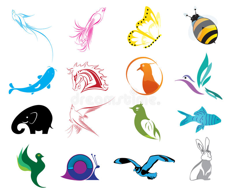 Animal Logo Icons Set. Vector illustration of animal logo colorful icons set on a white background stock illustration