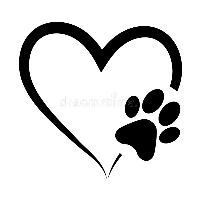 Free Animal Love Symbol Paw Print With Heart, Isolated Vector Stock Image - 138912621