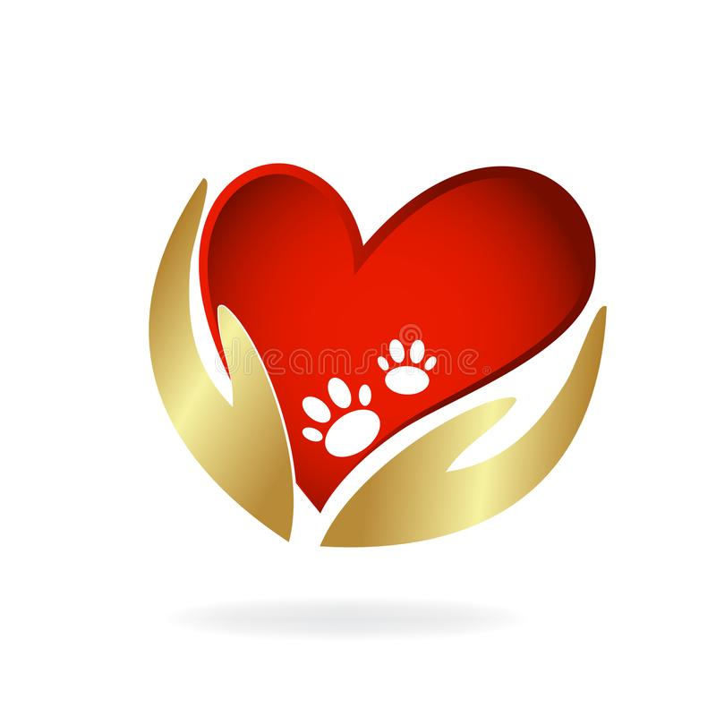 Animal lovers gold hands and love heart with paws logo image vector template royalty free illustration