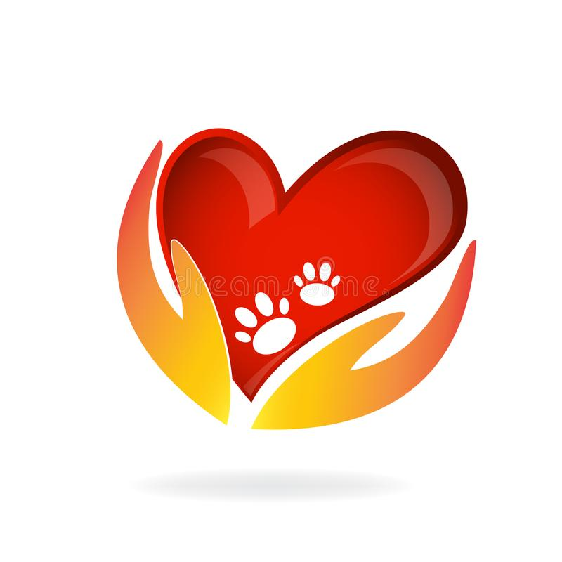 Animal lovers hands love heart and paws design emblem logo image vector template stock illustration