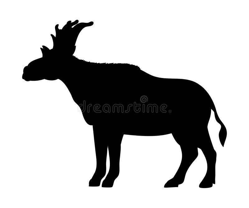 Animal mamífero extinto de la silueta de Sivatherium stock de ilustración