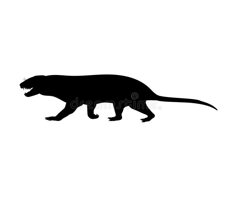 Animal mamífero extinto de la silueta de Tritylodontydae stock de ilustración