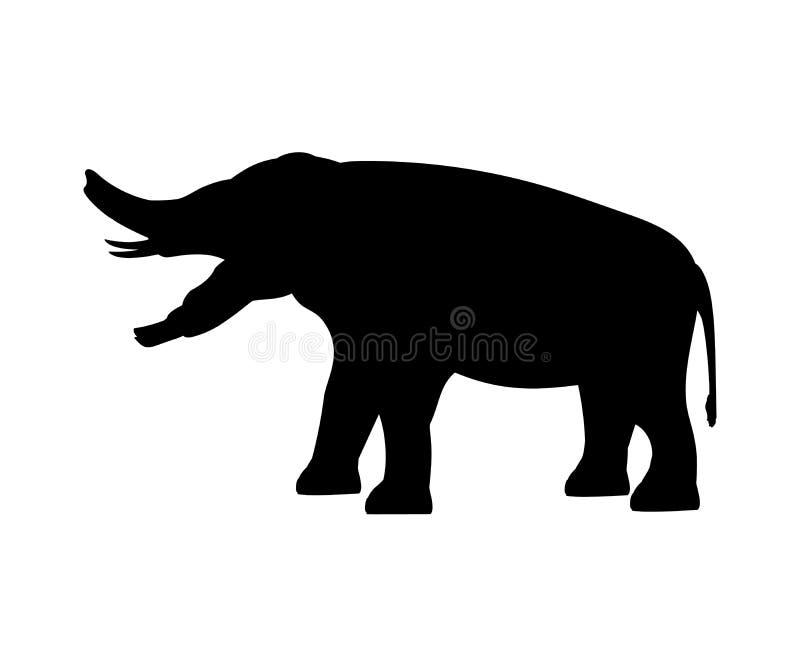 Animal mammifère éteint de silhouette d'éléphant de Platybelodon illustration libre de droits