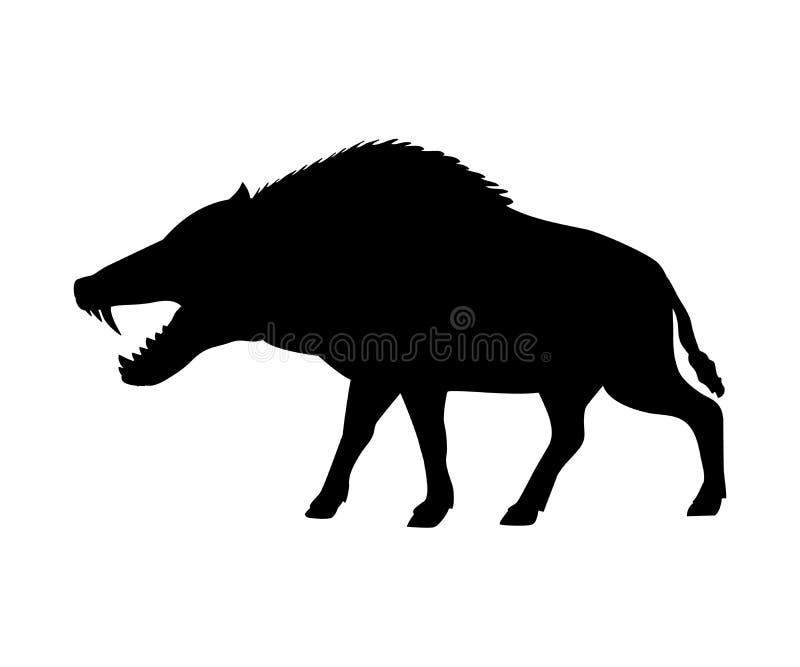 Animal mammifère éteint de silhouette d'Entelodon illustration de vecteur