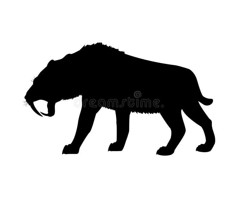 Animal mammifère éteint de silhouette dentée de tigre de sabre illustration libre de droits