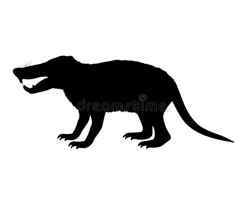 Animal mammifère éteint de silhouette de rat de hérisson de Deinogalerix illustration libre de droits