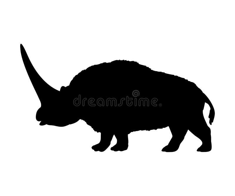 Animal mammifère éteint de silhouette de rhinocéros d'Elasmotherium illustration libre de droits