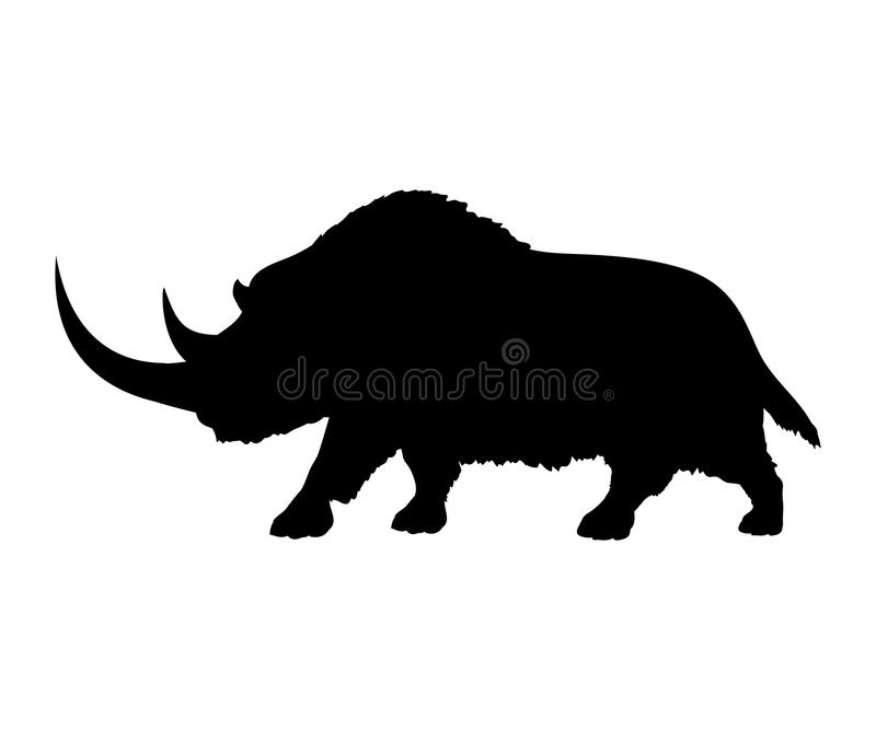 Animal mammifère éteint de silhouette de rhinocéros laineux illustration libre de droits