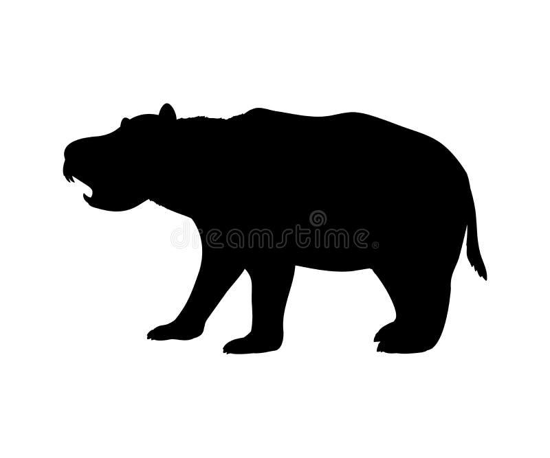 Animal mammifère marsupial éteint de silhouette de Diprotodon illustration libre de droits