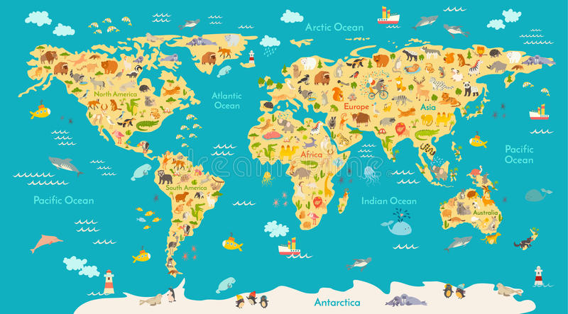 Animal map for kid. World vector poster for children, cute illustrated. Preschool cartoon globe with animals. Oceans and continent: South America,Eurasia,North stock illustration