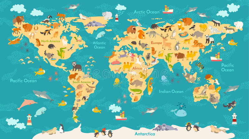 Animal map for kid world vector poster for children cute download animal map for kid world vector poster for children cute illustrated stock vector gumiabroncs Images