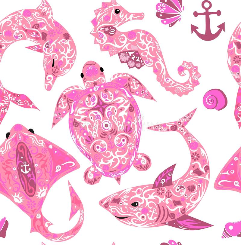Animal marinho do teste padrão fotos de stock royalty free