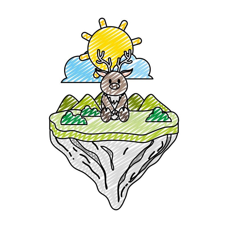 Animal masculino de los ciervos del garabato en la isla del flotador libre illustration