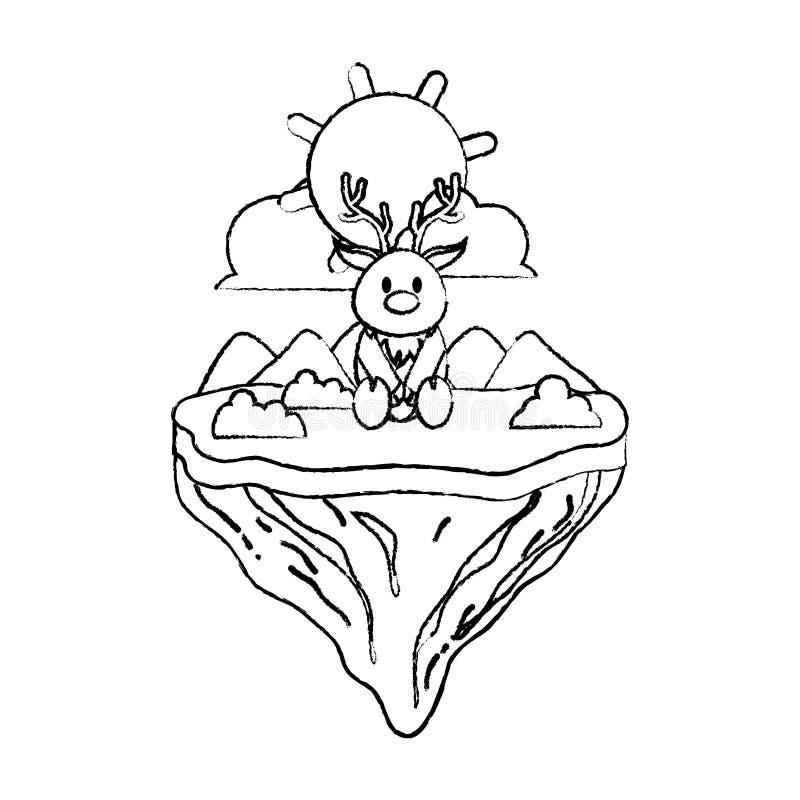 Animal masculino de los ciervos del Grunge en la isla del flotador ilustración del vector