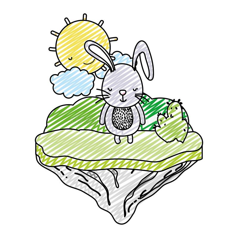 Animal masculino del conejo del garabato en la isla del flotador stock de ilustración