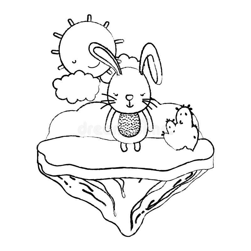 Animal masculino del conejo del Grunge en la isla del flotador stock de ilustración