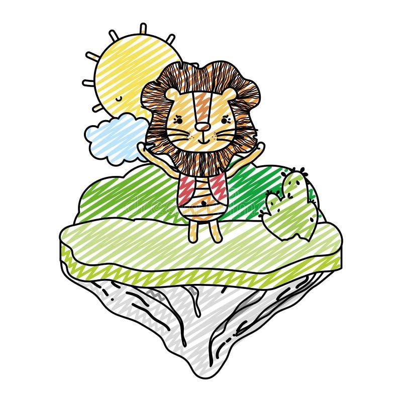 Animal masculino del león del garabato en la isla del flotador ilustración del vector