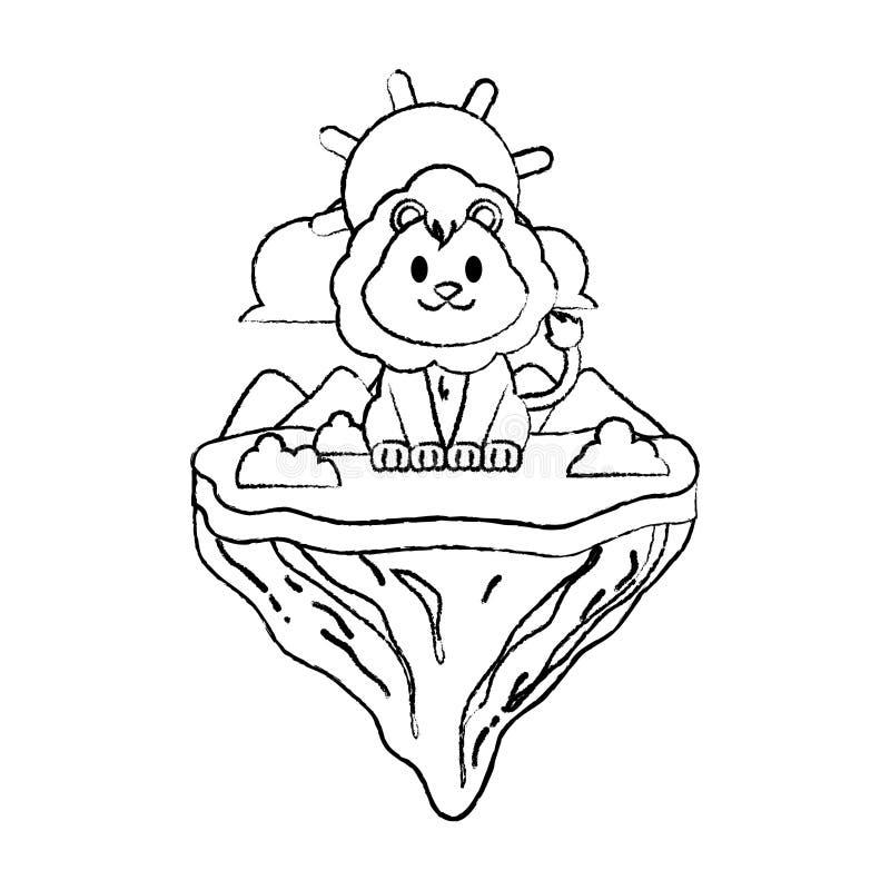 Animal masculino del león del Grunge en la isla del flotador ilustración del vector
