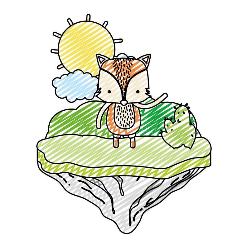 Animal masculino del zorro del garabato en la isla del flotador libre illustration