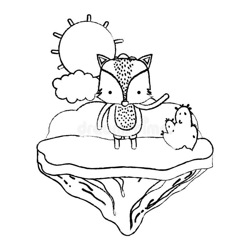 Animal masculino del zorro del Grunge en la isla del flotador stock de ilustración