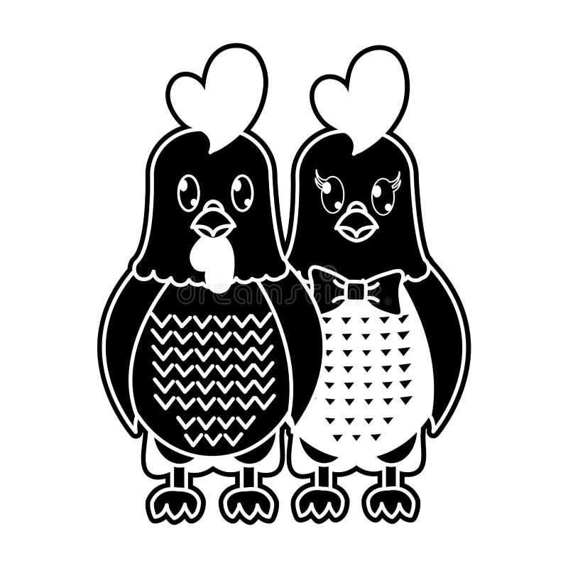 Animal mignon de couples de coq et de poule de silhouette illustration de vecteur