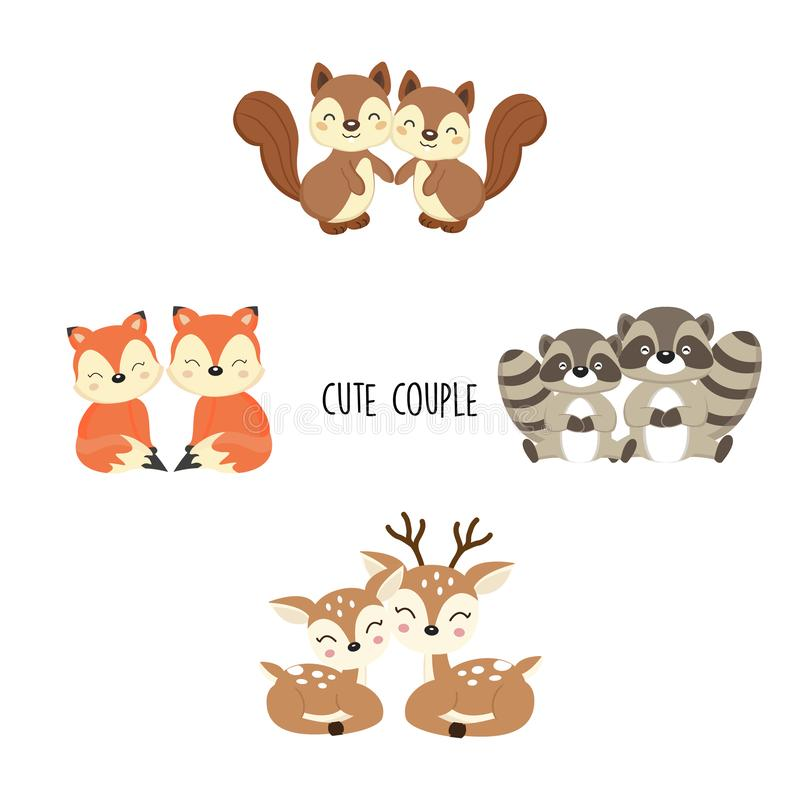 Animal mignon de région boisée de couples illustration stock