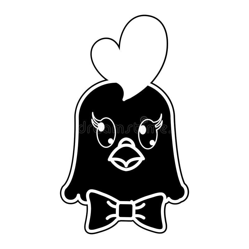 Animal mignon de tête de poule de silhouette avec l'arc de ruban illustration stock