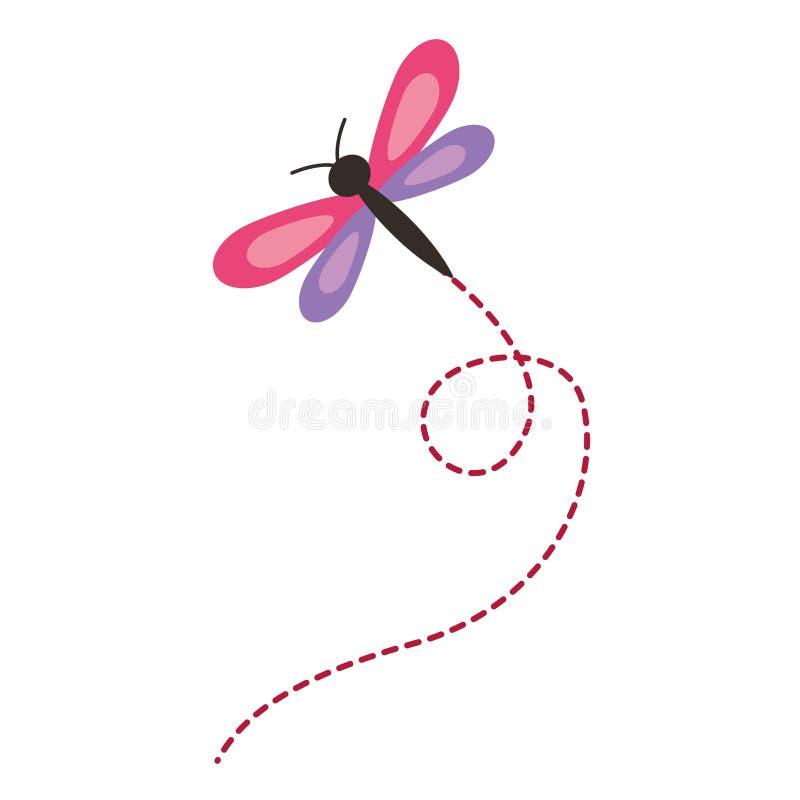 Animal natural de la libélula linda del vuelo stock de ilustración