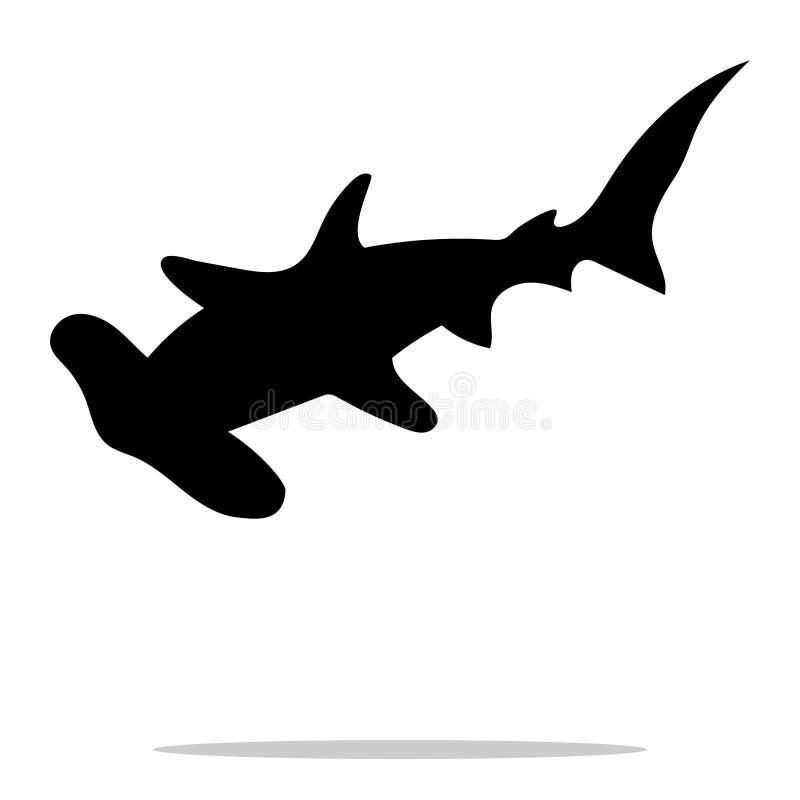 Animal negro náutico despredador de la silueta del hammerhead del tiburón stock de ilustración