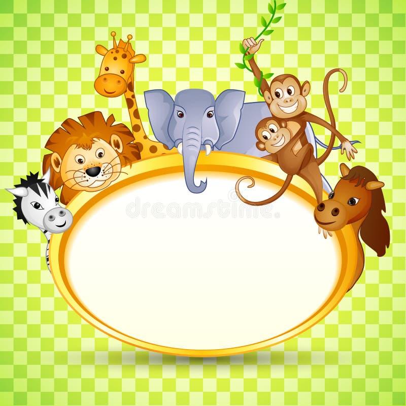 Animal no convite da festa do bebê ilustração royalty free