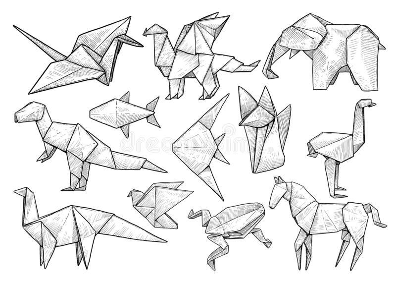 Animal origami collection, illustration, drawing, engraving, ink, line art, vector. Illustration, what made by ink and pencil on paper, then it was digitalized stock illustration