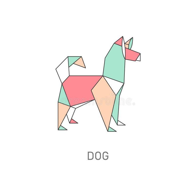 Animal origami of dog in japanese folded paper art vector illustration isolated. royalty free illustration