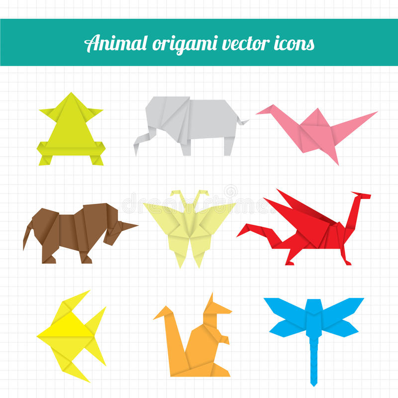 Animal origami. In many different type of animal and colours vector illustration