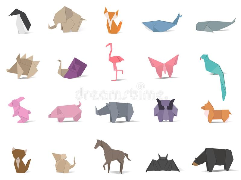 Animal origami vector isolated on background stock illustration