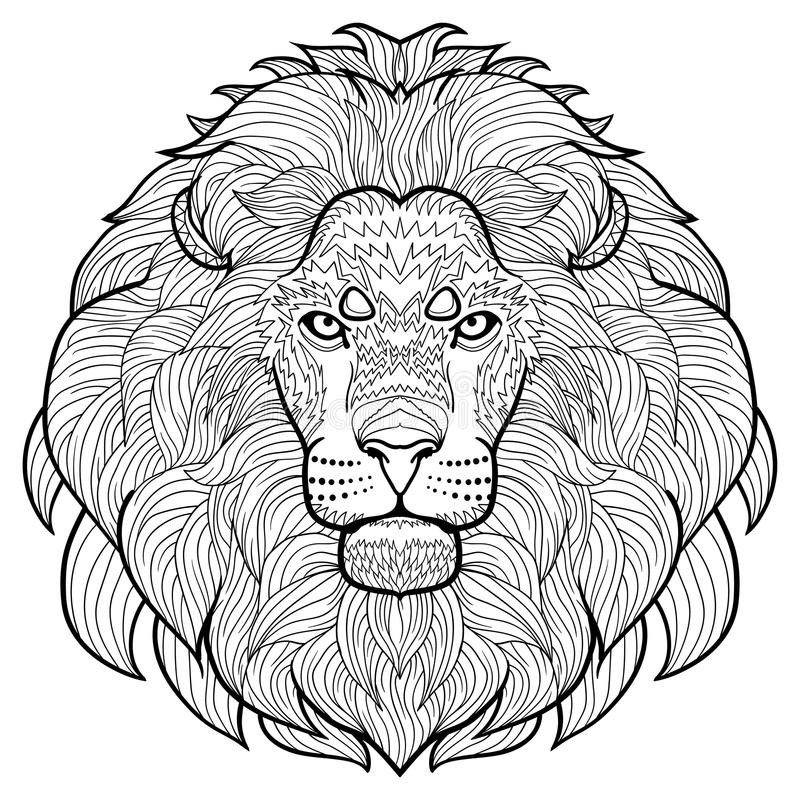 download animal outline drawing anti stress coloring in the head of a beautiful lion